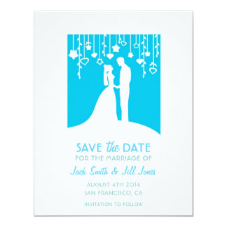 Save the date - blue bride & groom silhouettes 11 cm x 14 cm invitation card