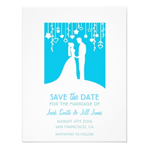 Save the date - blue bride & groom silhouettes custom invitations