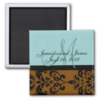 Save the Date Blue Brown Damask Wedding Magnet