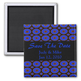 save the date blue flower pattern square magnet