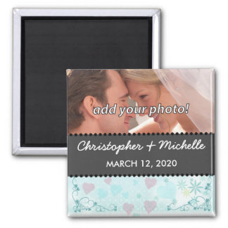 SAVE THE DATE BLUE FLOWERS & HEARTS 6 SQUARE MAGNET