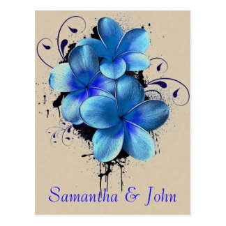 Save the Date - Blue Flowers Postcard