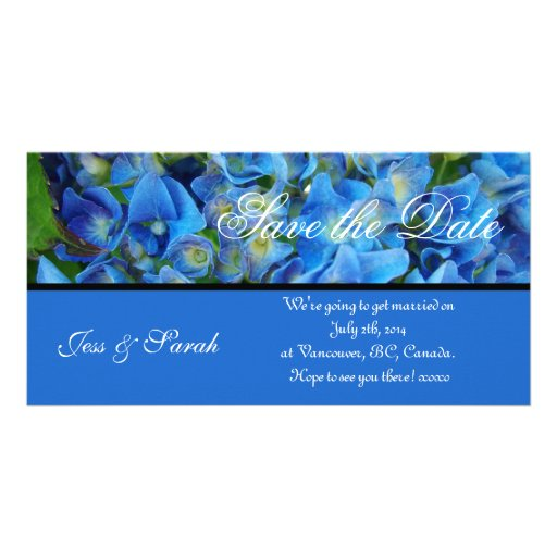 save the date, blue hydrangea flowers personalized photo card