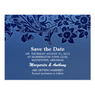 save the date blue postcards