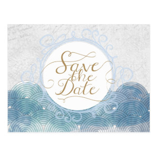 Save the Date Blue Waves Postcard