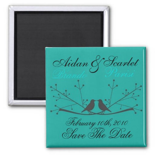 SAVE THE DATE BLUE WEDDING  MAGNET - Customized