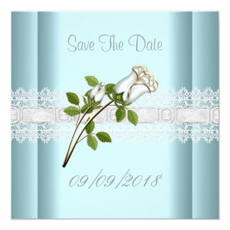 Save The Date Blue White Flower Lace Card