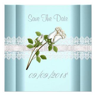 Save The Date Blue White Flower Lace Invite