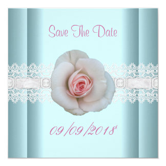 Save The Date Blue White Pink Rose Flower Lace Card