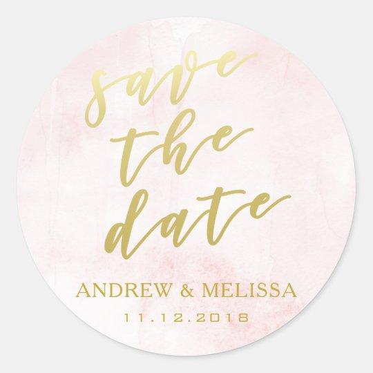 Save the Date, Blush & Gold Script Wedding