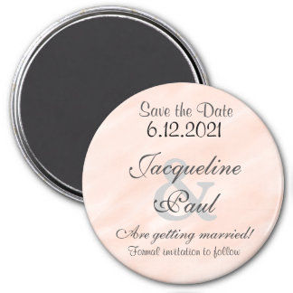 Save the Date Blush Personalized Round Magnet