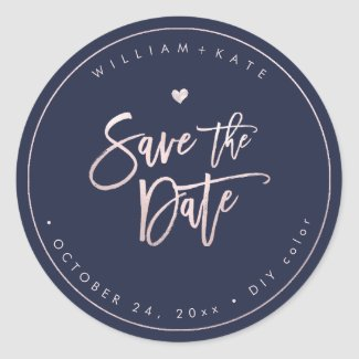 Save the Date, Blush Script DIY Midnight Blue Classic Round Sticker