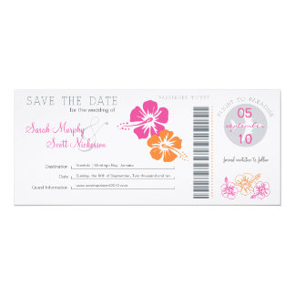 Save the Date Boarding Pass 10 Cm X 24 Cm Invitation Card