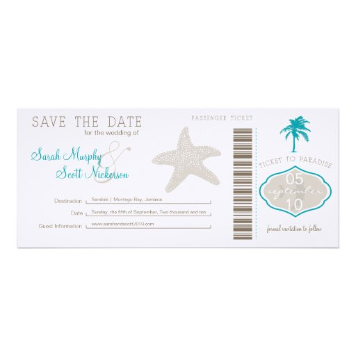 Save the Date Boarding Pass Custom Invitation