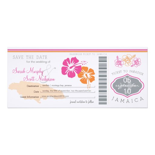 Save the Date Boarding Pass to Jamaica Personalized Announcements