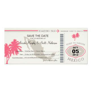 Save the Date Boarding Pass to Mexico Card
