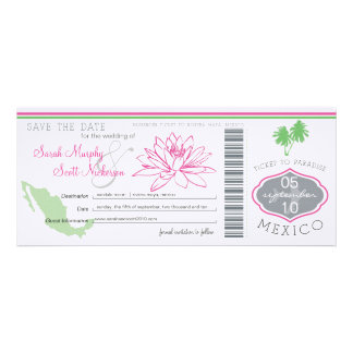Save the Date Boarding Pass to Mexico Invitation