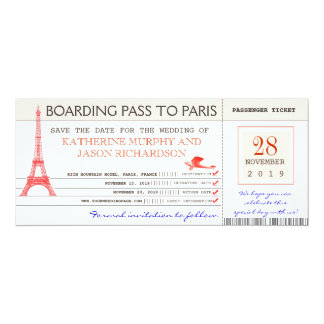 save the date boarding pass to paris france card