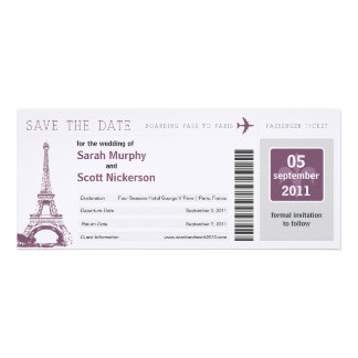 Save the Date Boarding Pass to Paris France Invitations