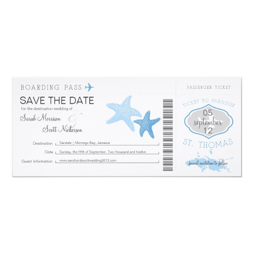 Save the Date Boarding Pass to St. Thomas 10 Cm X 24 Cm Invitation Card