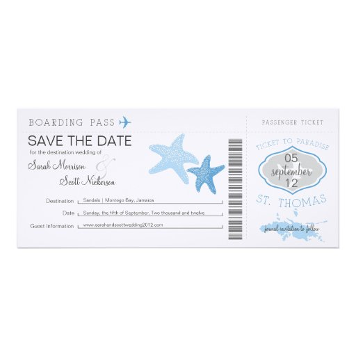 Save the Date Boarding Pass to St. Thomas Invitation