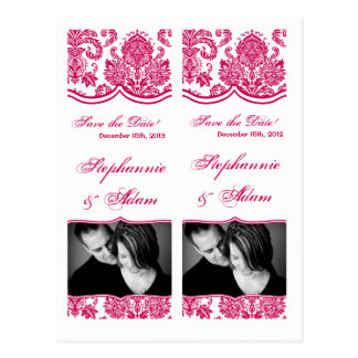 Save the Date Book Mark Favors Fusia White Damask Postcard