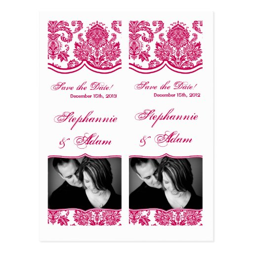 Save the Date Book Mark Favors Fusia White Damask Post Cards