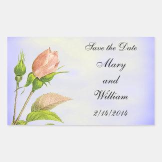 Save the Date Botanical Pink Rosebud Rectangular Sticker