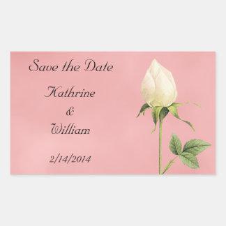 Save the Date Botanical White Rosebud Rectangular Sticker