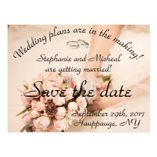 Save the Date Bouquet and Rings Postcard
