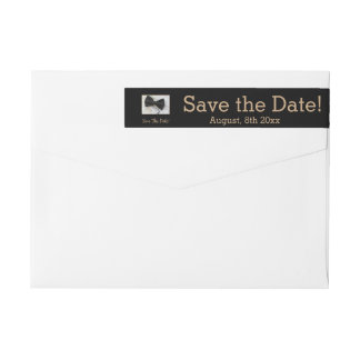 Save the Date Bow tie on dress Wrap Around Label