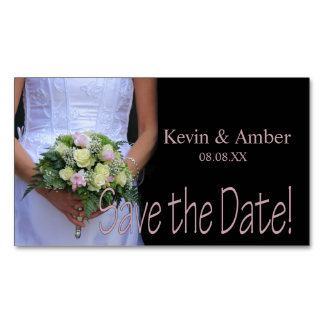Save the Date Bride & Bouquet Magnetic Business Card