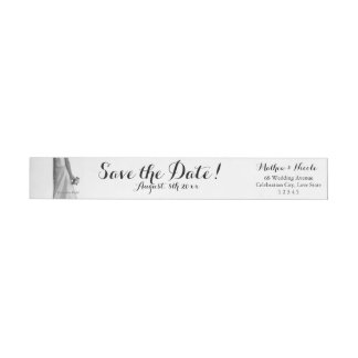 Save the Date Bride & Bouquet Wrap Around Label