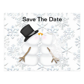 Save the Date BRIDE & GROOM Snowman Postcard
