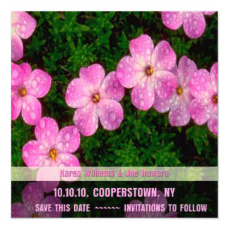 "Save the Date Bright Pink Flower Invitation 5.25"" Square Invitation Card"