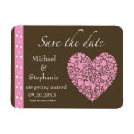 Save the Date-Brown/Pink Hearts Flexible Magnet