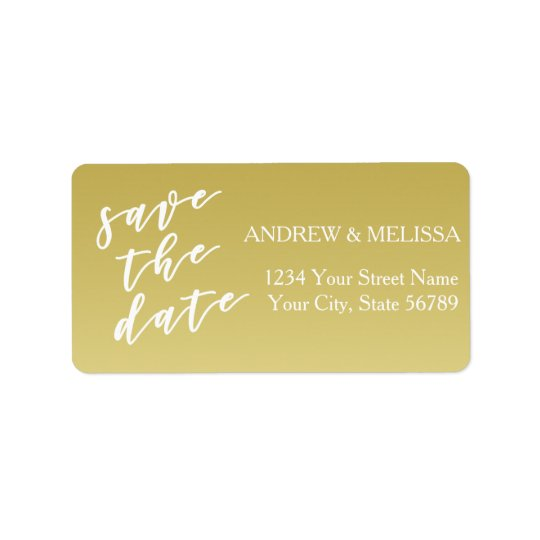 Save the Date | Brush Script, Faux Gold Address Label