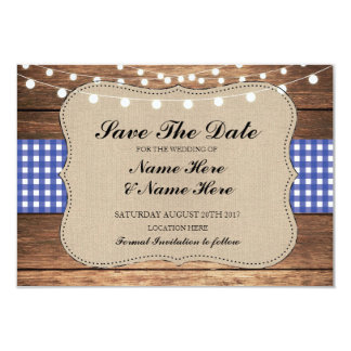 Save The Date Burlap Wood Rustic Blue Check Card