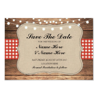 Save The Date Burlap Wood Rustic Red Check Card