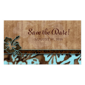 Save the Date Business Card Hibiscus Flower Blue