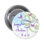 Save The Date Butterflies and Swirls Round Pin