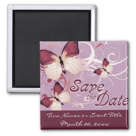 save the date : butterflies : square magnet