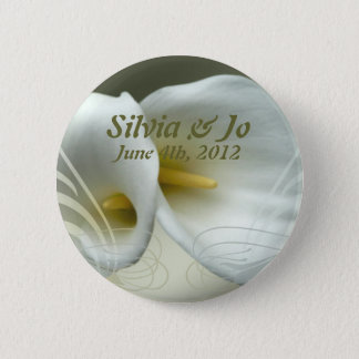 Save the date button with white lily design