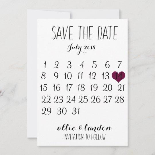 Save The Date Calendar Zazzle Co Uk