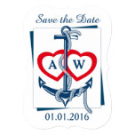 Save the Date card Anchor Nautical blue red 13 Cm X 18 Cm Invitation Card