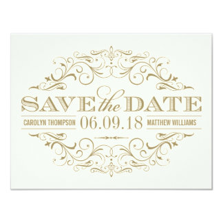 Save the Date Card | Antique Flourish 11 Cm X 14 Cm Invitation Card