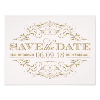 Save the Date Card | Antique Flourish 11 Cm X 14 Cm Invitation Card