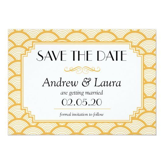 Save the Date Card , Art Deco Flat