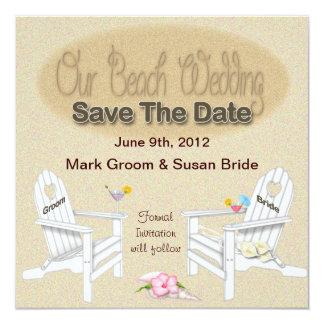 SAVE THE DATE CARD - BEACH WEDDING 13 CM X 13 CM SQUARE INVITATION CARD
