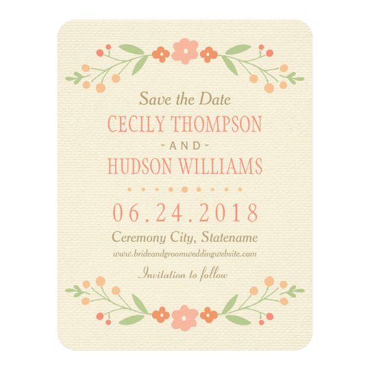 Save the Date Card   Country Florals Pink